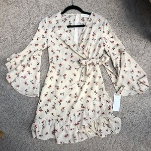 Bell Sleeve Floral Mini Dress